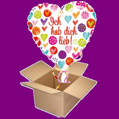 Ballongrüsse ICH HAB DICH LIEB Herzballon Liebesballon Ballongeschenk