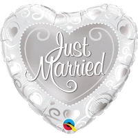 Just Married Herz perl white