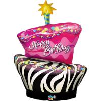 Folienballon happy birthday Funky Zebra Cake