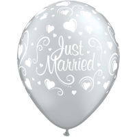 Rundballon just married silber