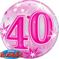 Single Bubble - Geburtstag, Pink 40