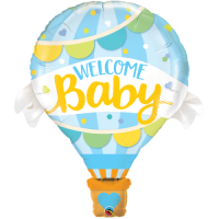 Folienballon Welcome baby blau