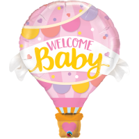 Folienballon Welcome baby rosa